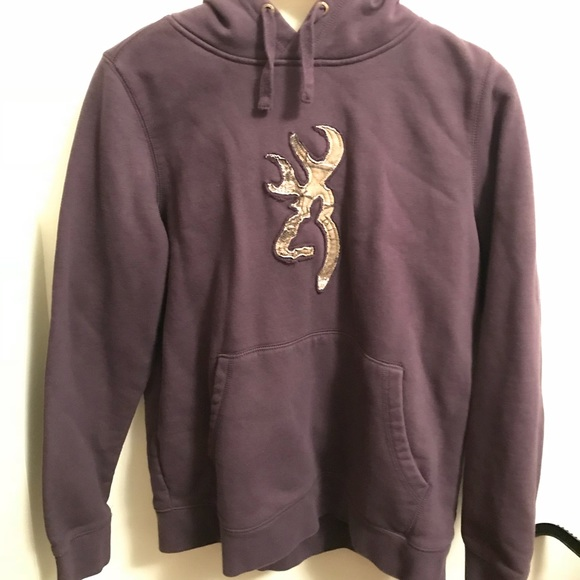828bdef2bfe7 Purple Browning Sweatshirt With RealTree Camo. M 5a6d2e14a6e3eac805f133d0